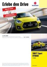SWIFT Sport HYBRID Preise, Ausstattung und technische Daten