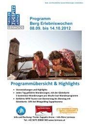 Programm Berg Erlebniswochen 08.09. bis 14.10.2012 - Lermoos