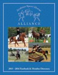 Arabian Sport Horse Alliance 2015 - 2016 Directory & Yearbook