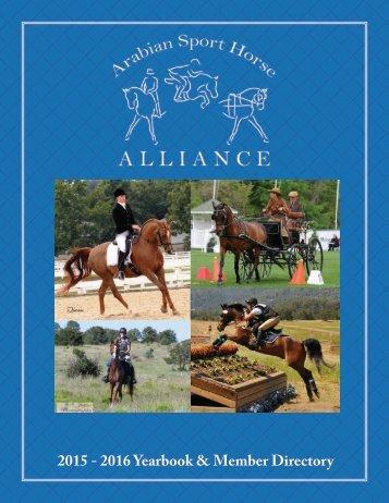 Arabian Sport Horse Alliance 2015 - 2016 Directory & Yearbook