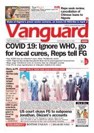 13052020 - COVID 19: Ignore WHO, go for local cures, Reps tell FG