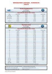 Prices Winter 2011/2012 - Bergbahnen Langes, Lermoos - Biberwier