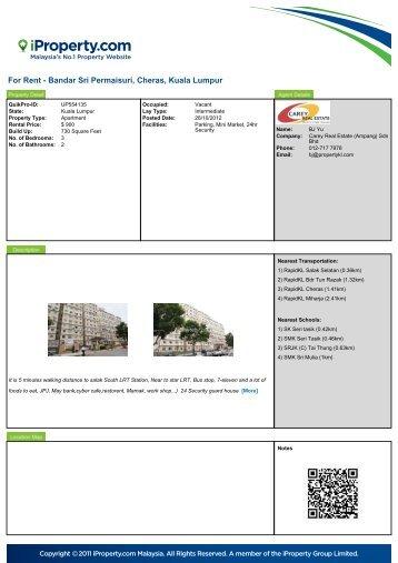 For Rent - Bandar Sri Permaisuri, Cheras, Kuala Lumpur