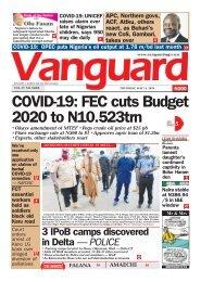 14052020 - COVID-19: FEC cuts Budget 2020 to N10.523trn