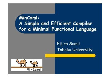 MinCaml: A Simple and Efficient Compiler for a Minimal Functional ...