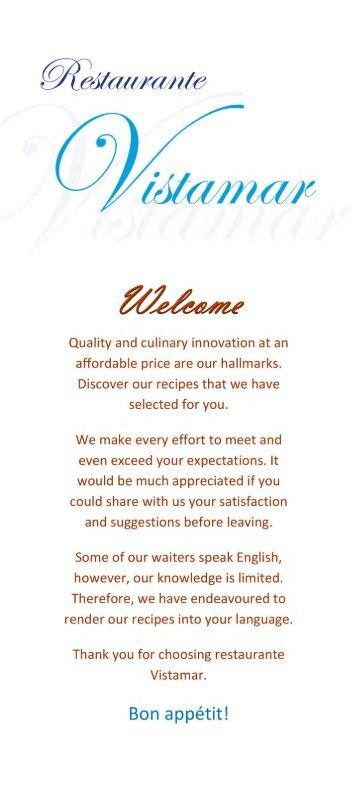 Menu & Set Menus –Restaurante Vistamar