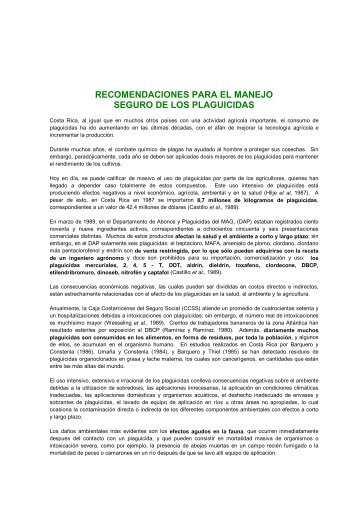 recomendaciones para el manejo seguro de los plaguicidas