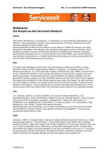 Ihre Nudelsauce-Rezepte für Bolognese (PDF) - WDR.de