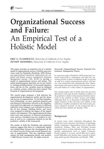 success or failure in the organizational Organizational factors that contribute to operational failures in hospitals september 4, 2013 anita l tucker harvard business school boston ma 02163.