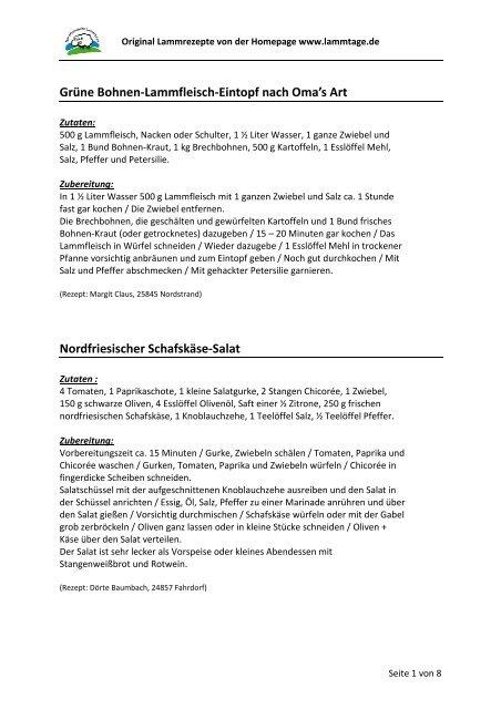 Lammrezepte 1 - Nordfriesische Lammtage