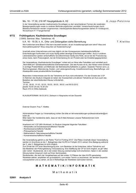 mathematisch-naturwissenschaftliche fakultät - koost - Universität zu ...
