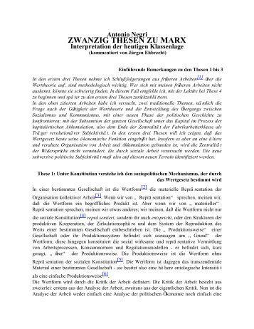 Antonio Negri ZWANZIG THESEN ZU MARX Interpretation der ...