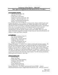 Printable version of provider list - Anchorage School District