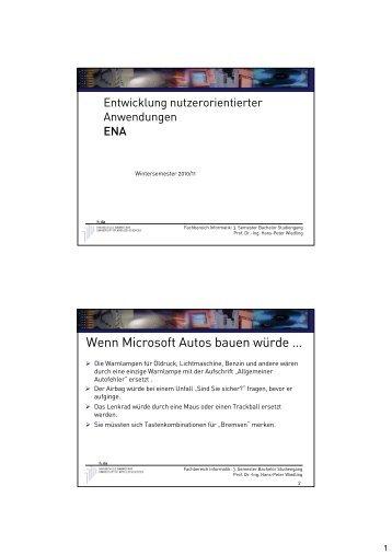 Wenn Microsoft Autos bauen würde … - beim Fachbereich Informatik