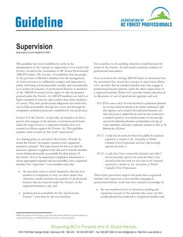 Guideline Supervision - Association of BC Forest Professionals