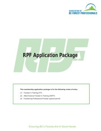 RPF Application Package - Association of BC Forest Professionals