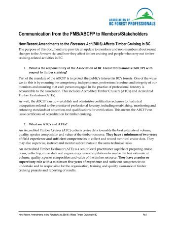 Communication from the FMB/ABCFP to Members/Stakeholders