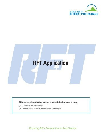 RFT Application Package - Association of BC Forest Professionals
