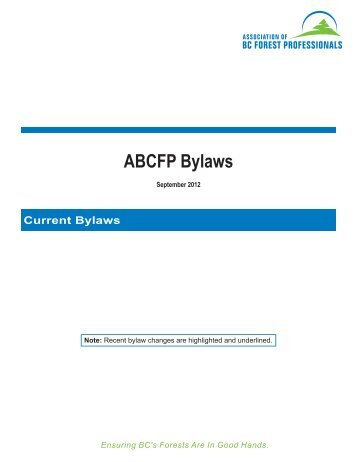 ABCFP Bylaws - Association of BC Forest Professionals