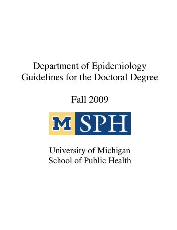 Department of Epidemiology Guidelines for the Doctoral Degree Fall ...