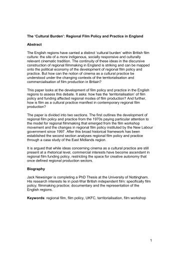'Cultural Burden': Regional Film Policy and Practice in England ...