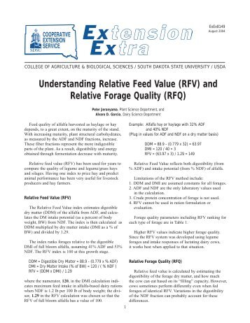 Understanding Relative Feed Value (RFV) and Relative Forage ...