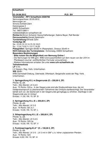 Schaafheim 23.-24.06.2012 PLS / BV Veranstalter : RFV ...