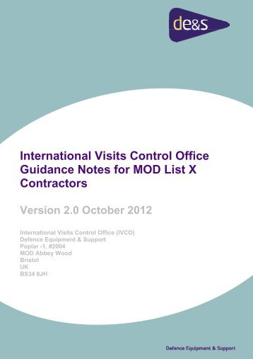 International Visits Control Office Guidance Notes for MOD List X ...
