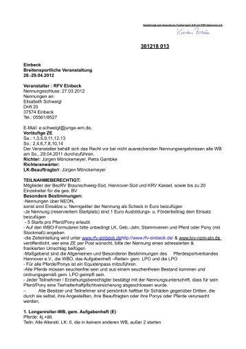 Ausschreibung WBO-Turnier - Reit- und Fahrverein Einbeck eV