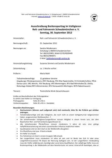2012 Ausschreibung VT-BT genehmigt - Voltigieren in Bayern