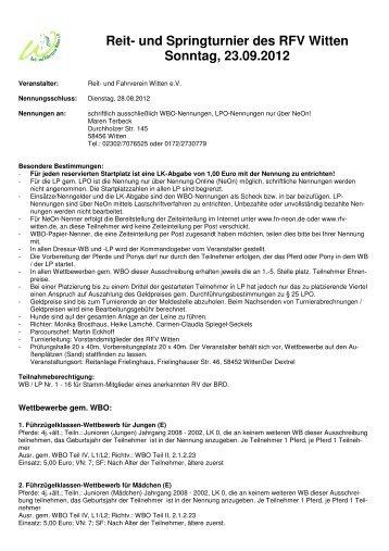 Ausschreibung PLS RFV Witten 2012