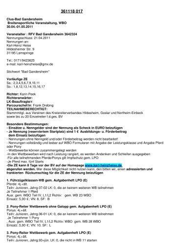 Clus-Bad Gandersheim Breitensportliche ... - Karl-Heinz Heise