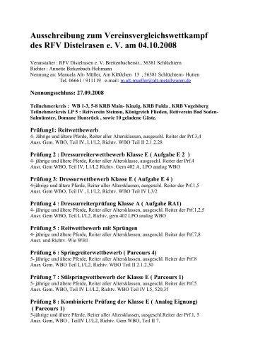 Ausschreibung zum Vereinsvergleichswettkampf des RFV ...