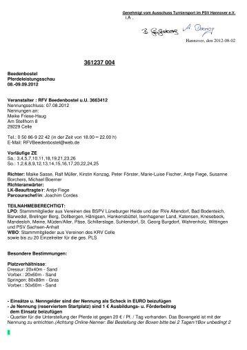 09.09.2012 Veranstalter : RFV Beedenbostel uU 3663412