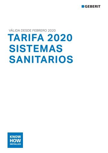 Geberit - Tarifa - 2020  - Sistemas sanitarios