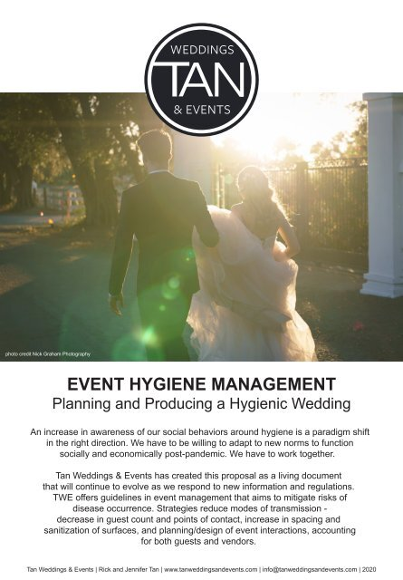 Event Hygiene Management - Planning and Producing a Hygienic Wedding