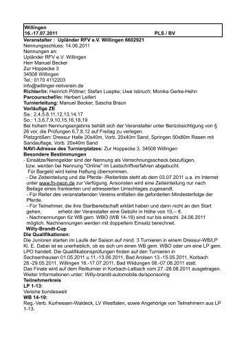 Willingen 16.-17.07.2011 PLS / BV Veranstalter : Upländer RFV e.V. ...