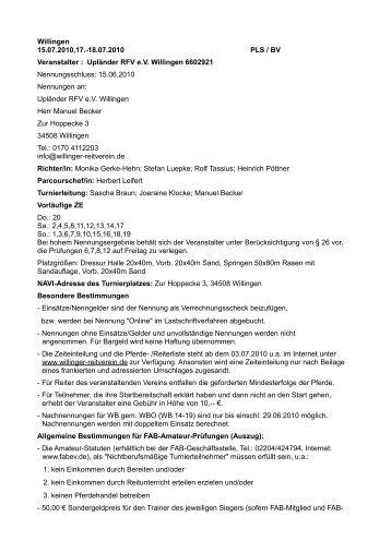18.07.2010 PLS / BV Veranstalter : Upländer RFV eV Willingen ...