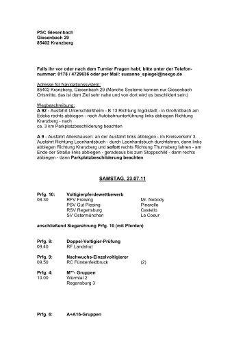 PSC Giesenbach - Voltigieren in Bayern