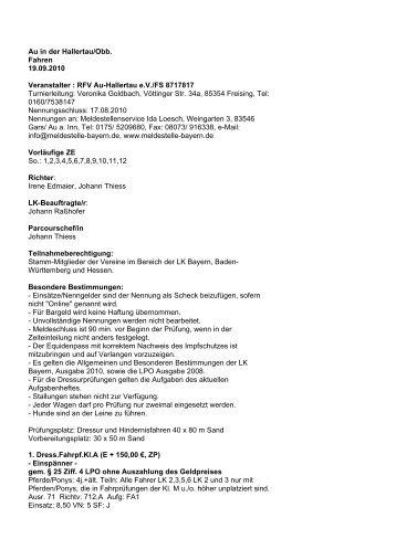 Au in der Hallertau/Obb. Fahren 19.09.2010 Veranstalter : RFV Au ...