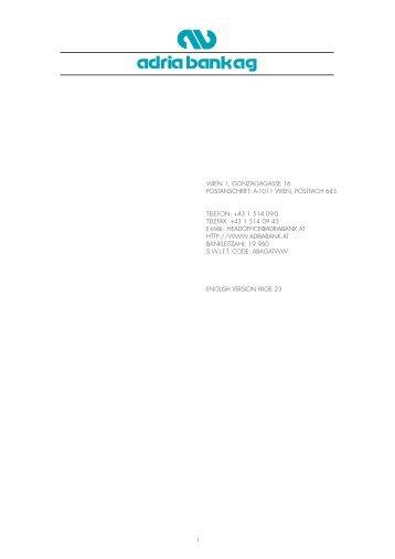1 Wien 1, Gonzagagasse 16 Postanschrift: a-1011 Wien, Postfach ...