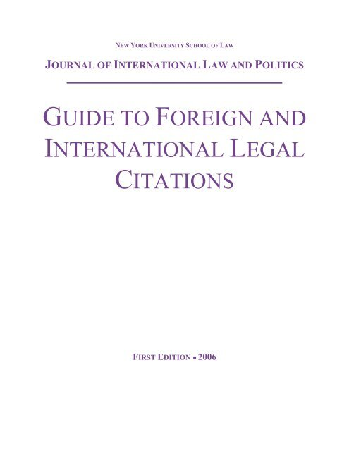 Guide To Foreign And International Legal Citations New York