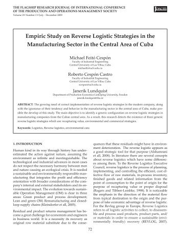 reverse logistics a review of case studies This case study deals with the design of reverse and forward supply chain network for an automobile  1 department of management studies,  reverse logistics.