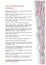 Literatur zum Thema Medienabhängigkeit Buchpublikationen