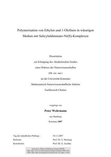 Polymerisation von Ethylen und 1-Olefinen in wässrigen Medien mit ...