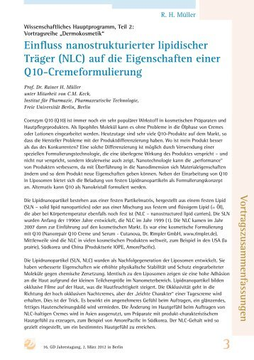 Einfluss nanostrukturierter lipidischer Träger (NLC ... - gd-online.de