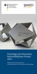 Preisträger des Deutschen Rohstoffeffizienz-Preises 2012