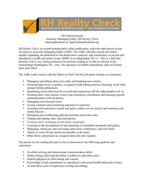 Ociate Editor Job Description | Job Announcement Associate Managing Editor Rh Reality Check