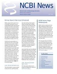 Entrez Search Services Enhanced NCBI Home Page Redesigned