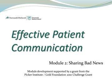 Sharing Bad News - Graduate Medical Education Challenge Grant ...